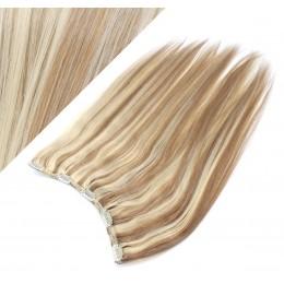 Clip vlasový pás remy 43cm rovný – světlý melír
