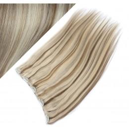 Clip vlasový pás remy 53cm rovný – platina / světle hnědá