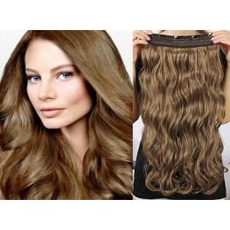 Clip vlasový pás remy 43cm vlnitý – světle hnědá