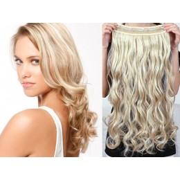 Clip vlasový pás remy 43cm vlnitý – platina / světle hnědá