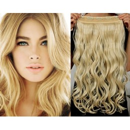 Clip vlasový pás remy 63cm vlnitý – nejsvětlejší blond