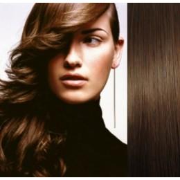 """24"""" (60cm) Clip in human REMY hair - medium brown"""