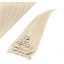 60cm clip in lidské REMY vlasy evropského typu - platina