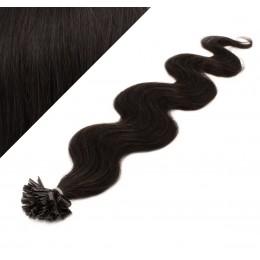 60cm vlasy na keratin vlnité - přírodní černá