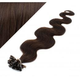 60cm vlasy na keratin vlnité - tmavě hnědá