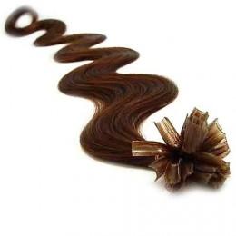 60cm vlasy na keratin vlnité - středně hnědá