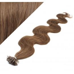 60cm vlasy na keratin vlnité - světlejší hnědá