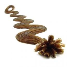 60cm vlasy na keratin vlnité - světle hnědá