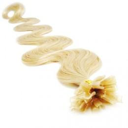 60cm vlasy na keratin vlnité - nejsvětlejší blond