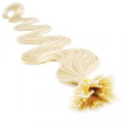 60cm vlasy na keratin vlnité - platina