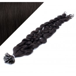 50cm vlasy na keratin kudrnaté - přírodní černá