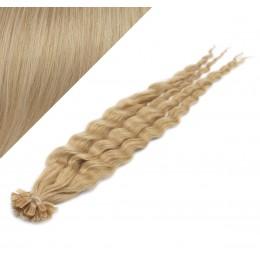 50cm vlasy na keratin kudrnaté - přírodní blond