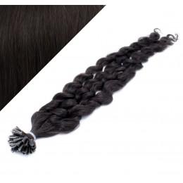 60cm vlasy na keratin kudrnaté - přírodní černá
