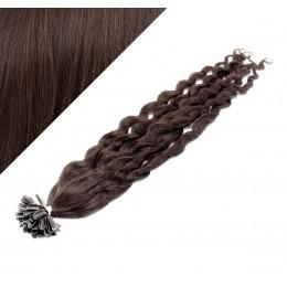 60cm vlasy na keratin kudrnaté - tmavě hnědá