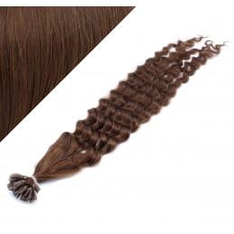 60cm vlasy na keratin kudrnaté - středně hnědá