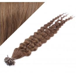 60cm vlasy na keratin kudrnaté - světlejší hnědá