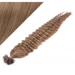 60cm vlasy na keratin kudrnaté - světle hnědá