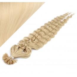 60cm vlasy na keratin kudrnaté - nejsvětlejší blond