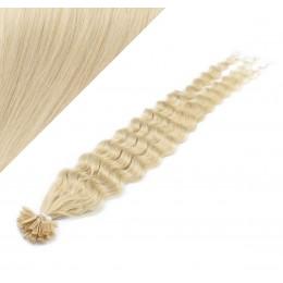 60cm vlasy na keratin kudrnaté - platina