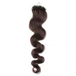 50cm micro ring / easy ring vlasy vlnité - tmavě hnědá