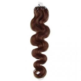 50cm micro ring / easy ring vlasy vlnité - středně hnědá