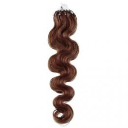 50cm micro ring / easy ring vlasy vlnité - světlejší hnědá