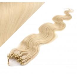 50cm micro ring / easy ring vlasy vlnité - nejsvětlejší blond