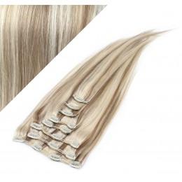 60cm clip in lidské REMY vlasy evropského typu - platina / světle hnědá