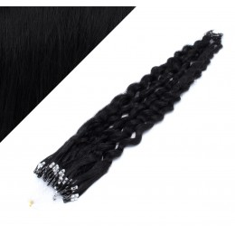 50cm micro ring / easy ring vlasy kudrnaté - černá
