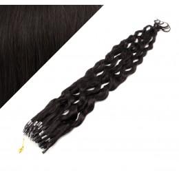 50cm micro ring / easy ring vlasy kudrnaté - přírodní černá