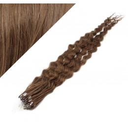 50cm micro ring / easy ring vlasy kudrnaté - světlejší hnědá