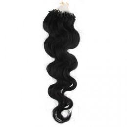 60cm micro ring / easy ring vlasy vlnité - černá