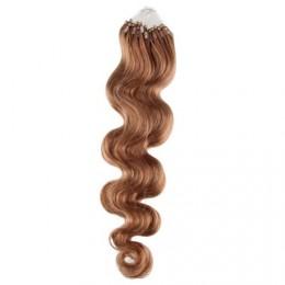 60cm micro ring / easy ring vlasy vlnité - světle hnědá