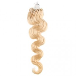 60cm micro ring / easy ring vlasy vlnité - nejsvětlejší blond