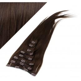 70cm clip in lidské REMY vlasy evropského typu - tmavě hnědá