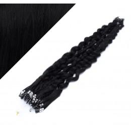 60cm micro ring / easy ring vlasy kudrnaté - černá