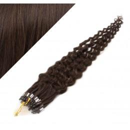 60cm micro ring / easy ring vlasy kudrnaté - tmavě hnědá