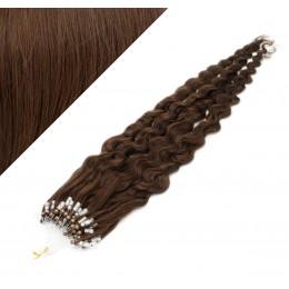 60cm micro ring / easy ring vlasy kudrnaté - středně hnědá