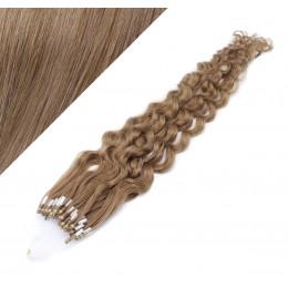60cm micro ring / easy ring vlasy kudrnaté - světle hnědá