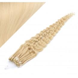 60cm micro ring / easy ring vlasy kudrnaté - nejsvětlejší blond