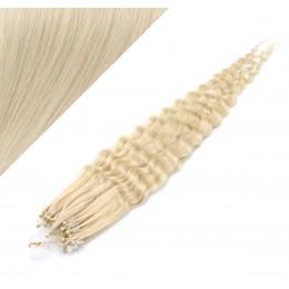 60cm micro ring / easy ring vlasy kudrnaté - platina