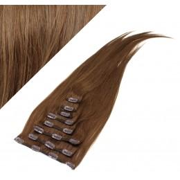 70cm clip in lidské REMY vlasy evropského typu - středně hnědá