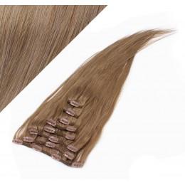 70cm clip in lidské REMY vlasy evropského typu - světle hnědá