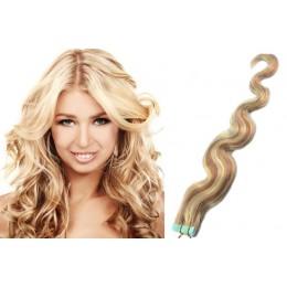 50cm Tape vlasy / Tape IN vlnité - platina / světle hnědá