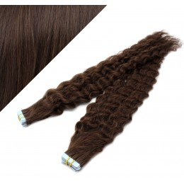 50cm Tape vlasy / Tape IN kudrnaté - tmavě hnědá