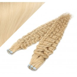 50cm Tape vlasy / Tape IN kudrnaté - nejsvětlejší blond