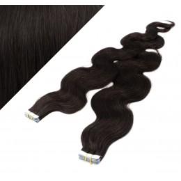 60cm Tape vlasy / Tape IN vlnité - přírodní černá