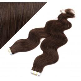 60cm Tape vlasy / Tape IN vlnité - tmavě hnědá