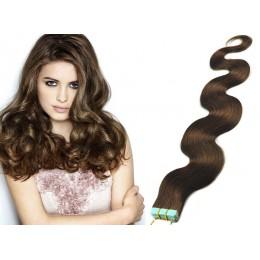 60cm Tape vlasy / Tape IN vlnité - středně hnědá