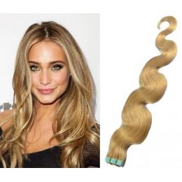 60cm Tape vlasy / Tape IN vlnité - přírodní blond